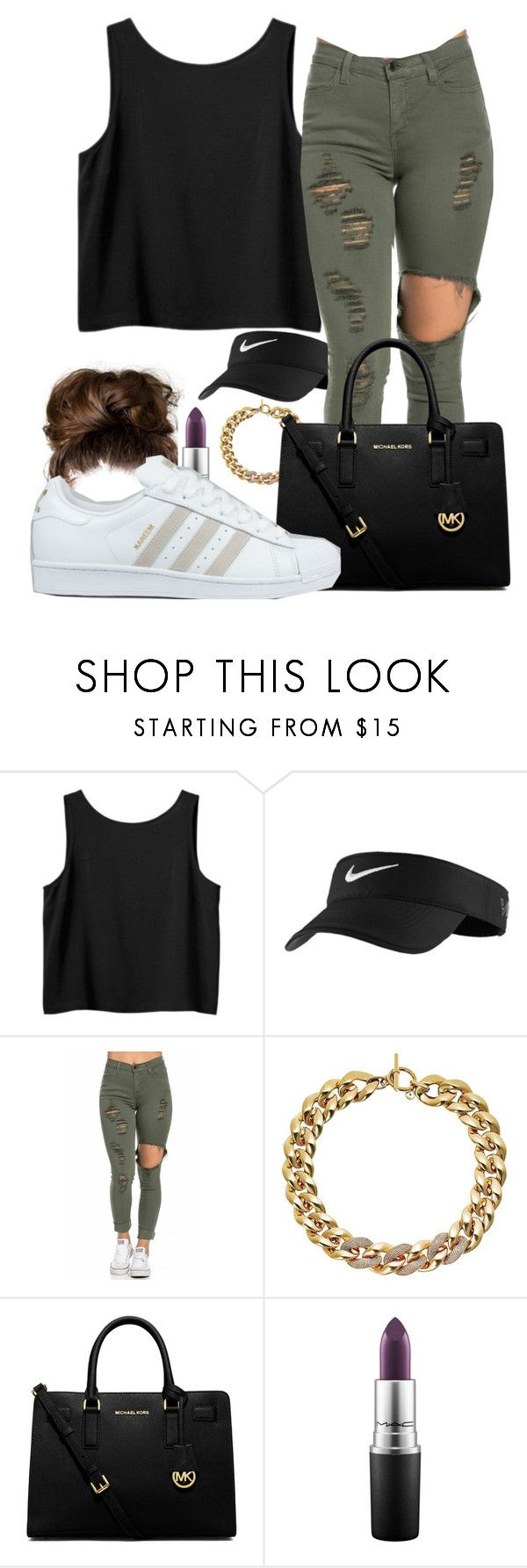 """Something simple"" by kam95502 on Polyvore featuring Monki, NIKE, Michael Kors, MICHAEL Michael Kors, MAC Cosmetics, adidas, women's clothing, women's fashion, women and female"