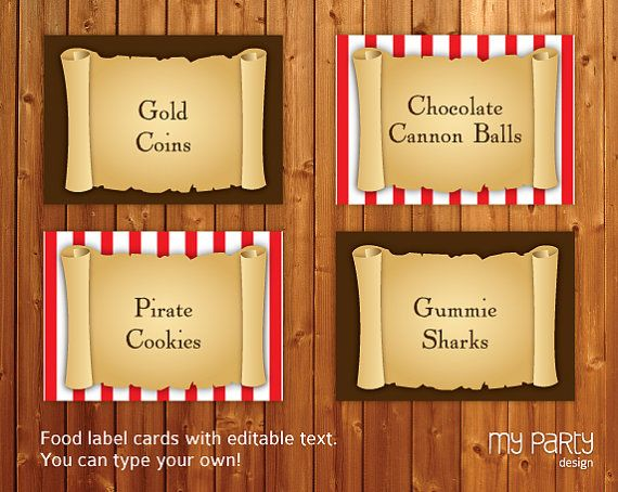 Pirate Party - Food Labels - Place Cards - INSTANT ...