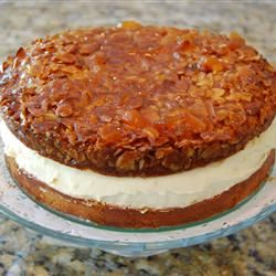 Bee Sting Cake (Bienenstich) This cake has a sugary almond crust with a cream like filling. It is delicious!!!