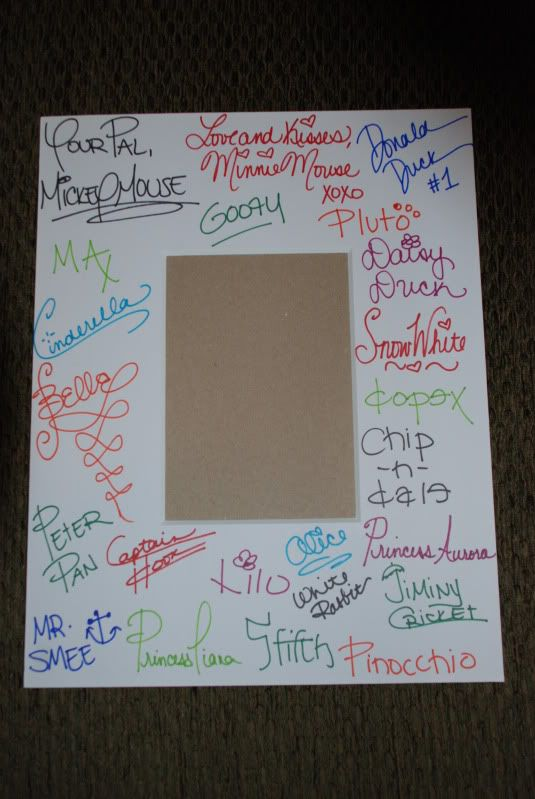Autographed picture frame-- We're doing this for our cruise this year :)