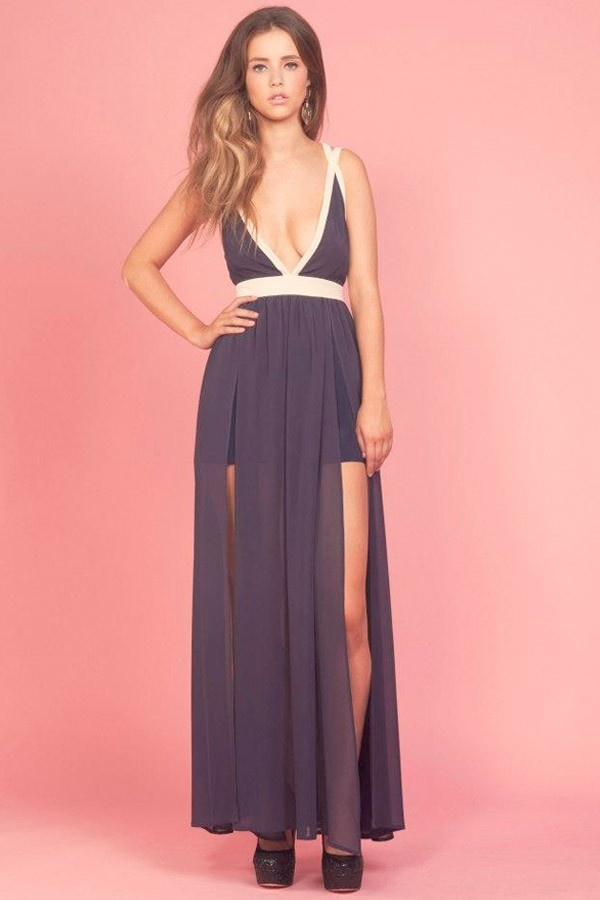 Keepsake - Eyes Wide Open Maxi Dress in Navy and Cream Price  AUD $159.95