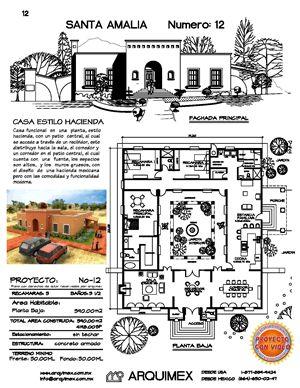 Home Plans Arquimex – Home Plans and House Plans in Mexico, Casa estilo hacienda