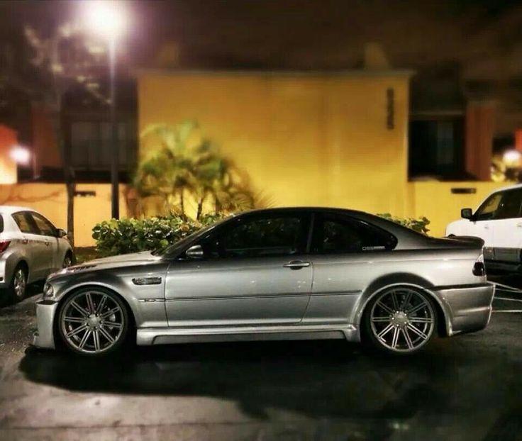 BMW E46 M3 silver slammed on Vossen wheels