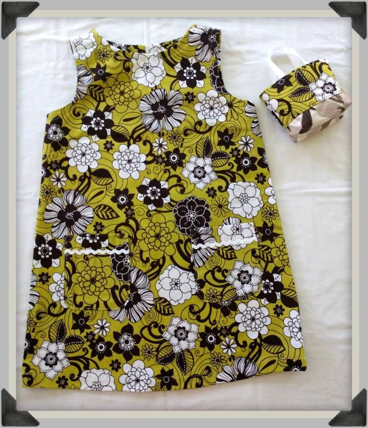 Retro A line girls dress, ric rac trim pockets and matching tiny tote, summer dress by ByCatDesign on Etsy