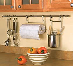 Kitchen rail systems can provide additional storage space.
