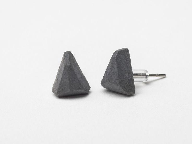 AB concrete design - WEDGE / antrachite Earrings, concrete, design, gray, stone, meteor, triangle, polygon, rock, minimal, elegant