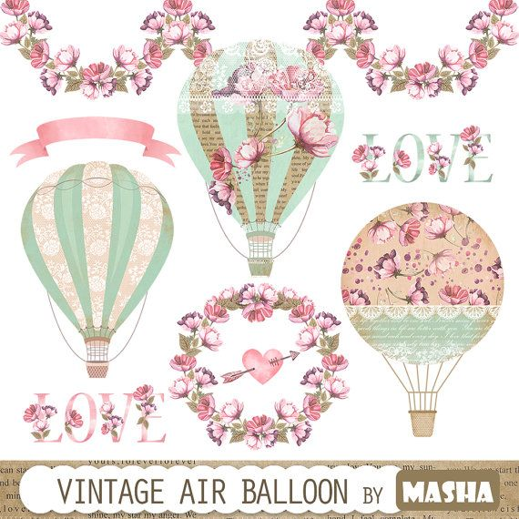 "Vintage balloon clipart: ""Vintage Hot Air Balloon clipart"" with balloon clipart, watercolor flower garland, watercolor ribbon, wreath, heart"