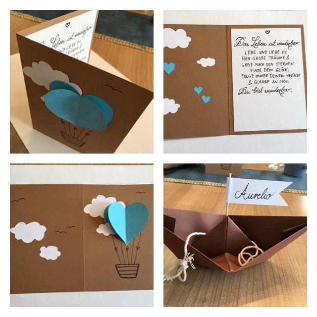 Geschenk zur Taufe, Karte, Papierschiff