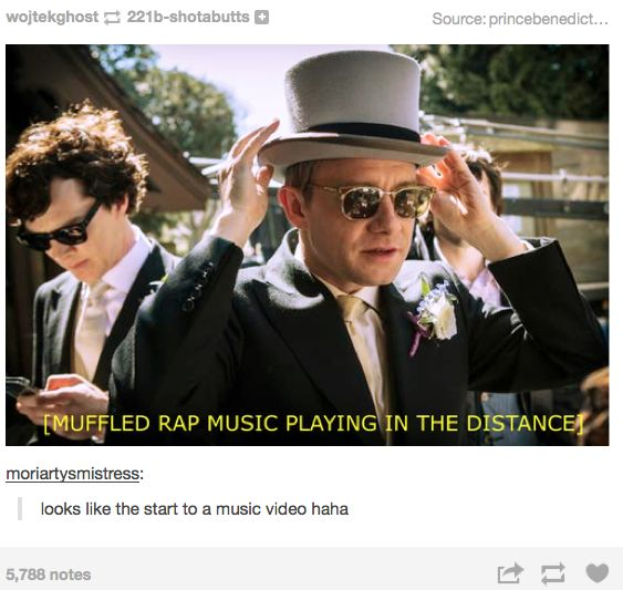 I love Sherlock's sunglasses. He is rocking it in the back on his phone. John looks like such a player.