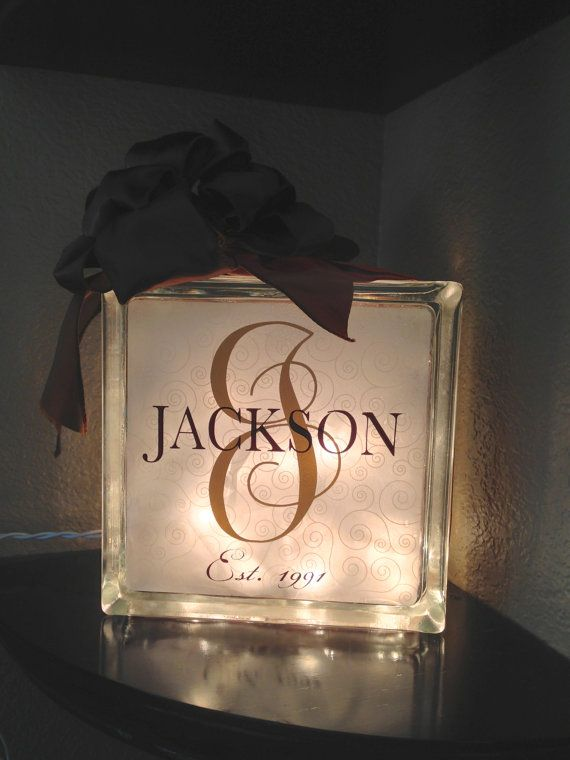 Personalized Glass Block with Monogram Last by ElegantCottageStyle, $25.00