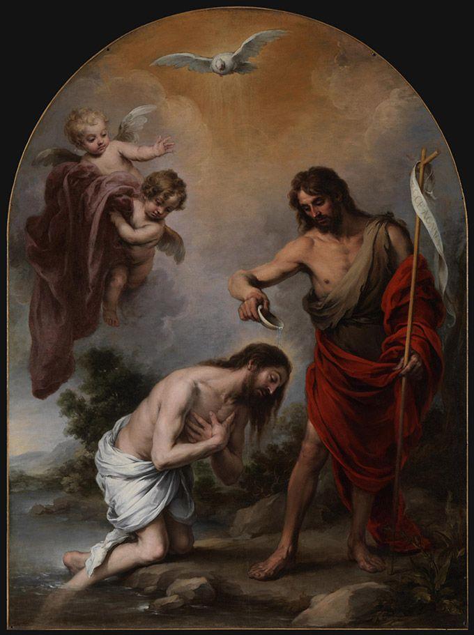 The Baptism of Christ / El Bautismo de Cristo // 1668 // Bartolomé Esteban Murillo // Sevilla, Catedral Catedral de Sevilla // #Jesus #TheBaptist