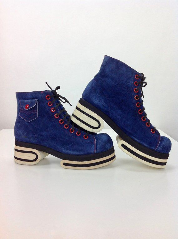 eac6207adb397 1970'S High Top Platform Sneakers / Blue Suede with Red Contrasting ...