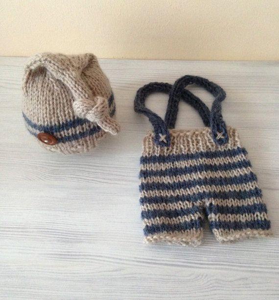 NEW!!! Newborn set,Photo prop,Knitting set,Bonnet and pants,Vintage hat,Newborn,Newborn knitting hat,Newborn knitting pants