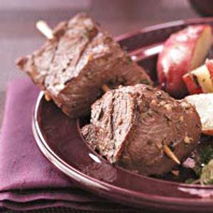 Succulent Beef Skewers Recipe - I wasn't sure how much I'd like this because of the mustard, but it was very good!      ****4/5 Stars