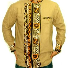 Belle chemise en lin et en tissu imprimé africain