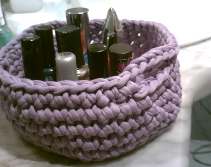 Como hacer una cesta paso a paso en español a ganchillo con trapillo