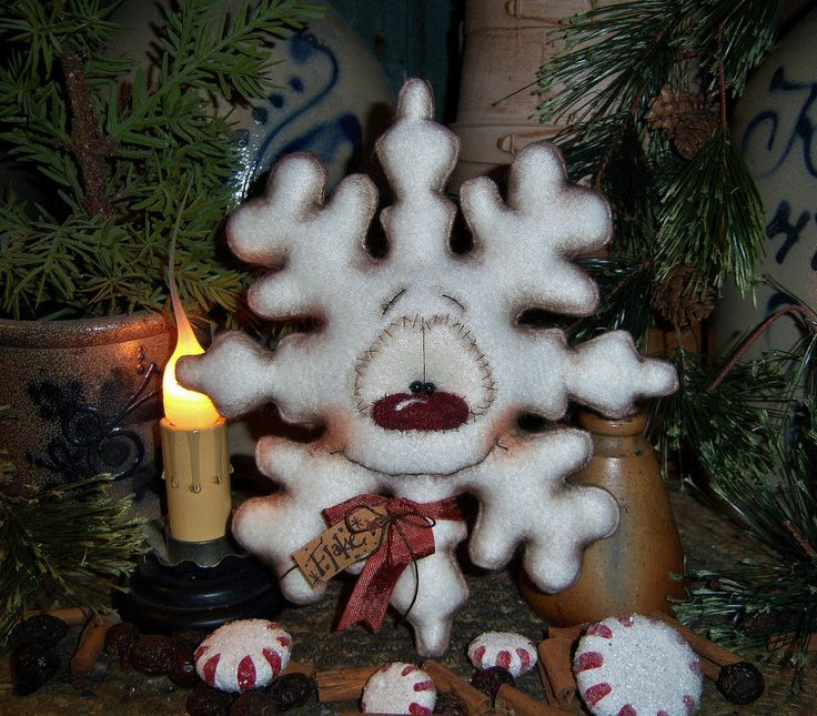 "Primitive Frosty Snowflake Ornament 7"" Snowman Doll Vtg Patti's Ratties Bear"