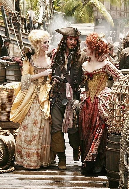 Captain Jack Sparrow with Giselle and Scarlet, Pirates of the Caribbean: At Worlds End.