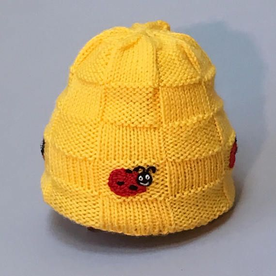 Child's Yellow Knit Hat, Kids Winter Hat, Ladybug Hat, Embroidered Hat, 1 - 3 years, Custom Made Hat