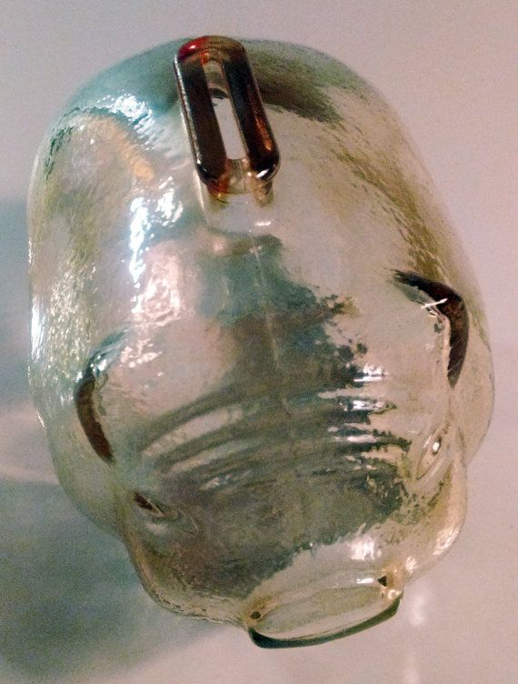Large Midcentury Carnival Glass Piggy Bank Coin Holder