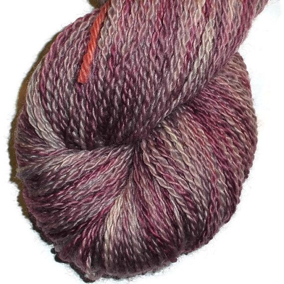 Hand Dyed Bluefaced Leicester Wool Sock Yarn, 2-ply Light Purple Stone.