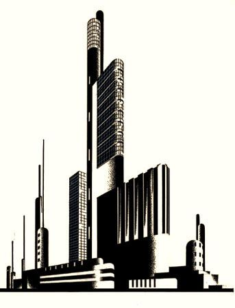 Chernikhov, drawing, 1925-1931. Construction of Architectural and Machine Forms.