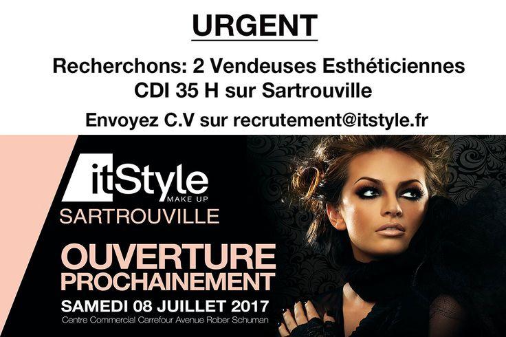 EMPLOI: Recherchons 2 vendeuses esthéticiennes en C.D.I sur Sartrouville, Ouverture dans quelques jours au Centre Commercial Carrefour Avenue Robert Schuman78500 Sartrouville, Envoyez C.V sur recrutement@itstyle.fr en précisant Sartrouville.  #emploi #itstyle #offres #maquillage #makeup #visage  #cosmetique #maquillage #été #doré #eyeslashes  #fashion #beauty #mode #beauté #cosmetics #esthéticienne #vendeuse