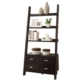 """Ladder-style bookshelf with 3 shelves and 4 bottom drawers.   Product: BookshelfConstruction Material: WoodColor: CappuccinoFeatures:  Three shelvesFour drawers Dimensions: 69"""" H x 33.5"""" W x 16.75"""" D"""