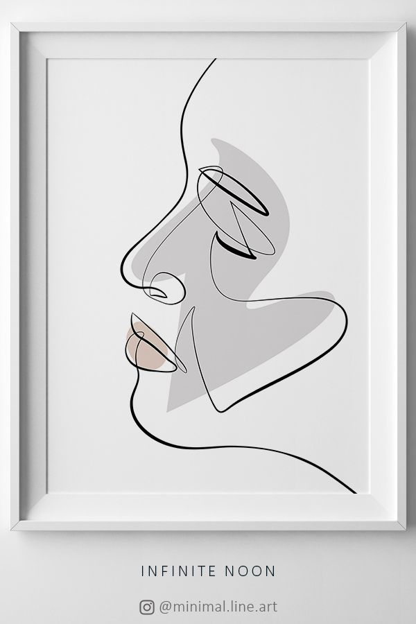 Passion Face Sketch One Line Drawing Single Line Art Muted
