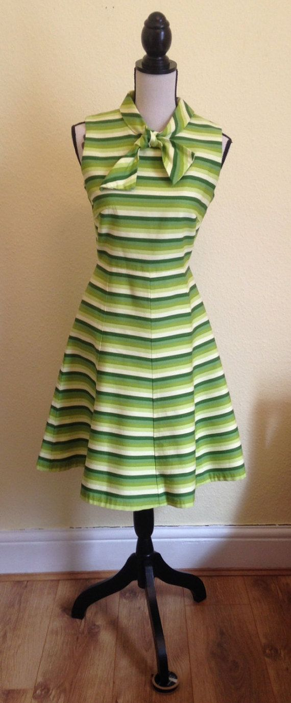 Green Striped Mod Dress with Tie Neck by EnglishRoseAndThorn