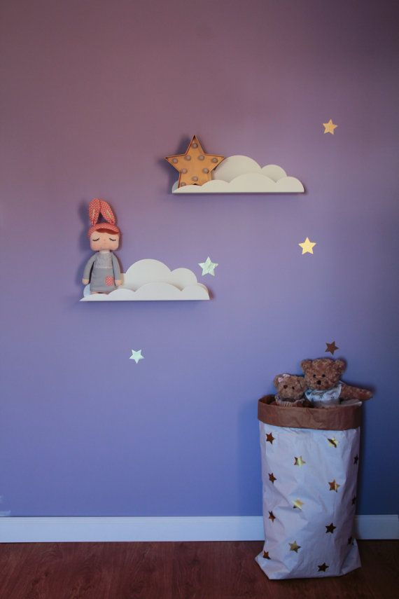 Our Cloud shape shelf is perfect for you kids little treasures! It will help to organize books and toys. It is a great wall décor as well.
