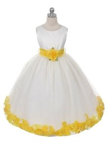 Ainsley White or Ivory Dress w/ Yellow accents