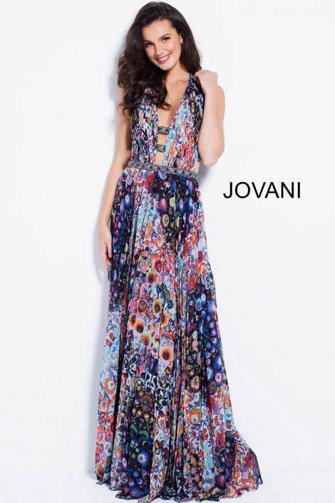 f6dfb6a1325 Style 59452 from Jovani is a plunging neck psychedelic floral print gown  with a cutout racer back.