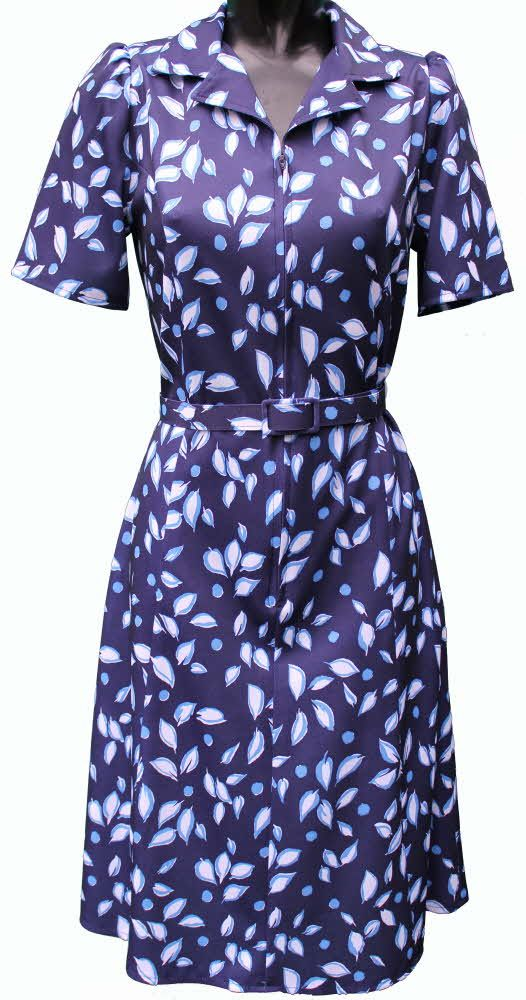 Short sleeve dress by Rival .Navy blue leaf pattern Short fitting