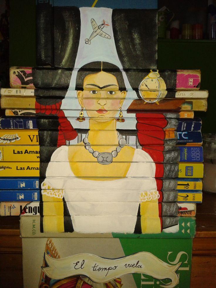 pintura acrílica sobre lomos de libros (frida kahlo - el tiempo vuela)