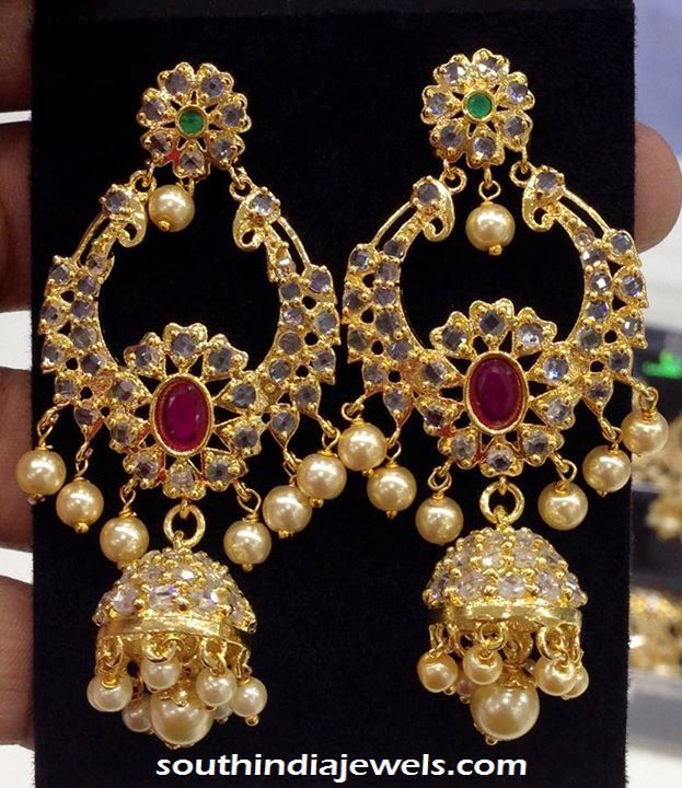 Imitation uncut stone earrings from Swarnakshi Jewels and Accessories. For inquiries please contact  91 95811 93795.