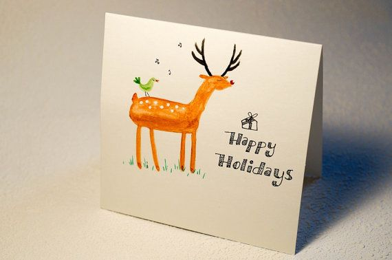 Hand painted and hand lettering   Handmade Christmas Card, Christmas Greeting Card, Unique Christmas Card, Elegant Holiday Card  $25.00 CAD