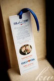 Love story themed wedding save the dates bookmark