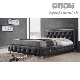 Čalúnená posteľ CRYSTAL BLACK 180