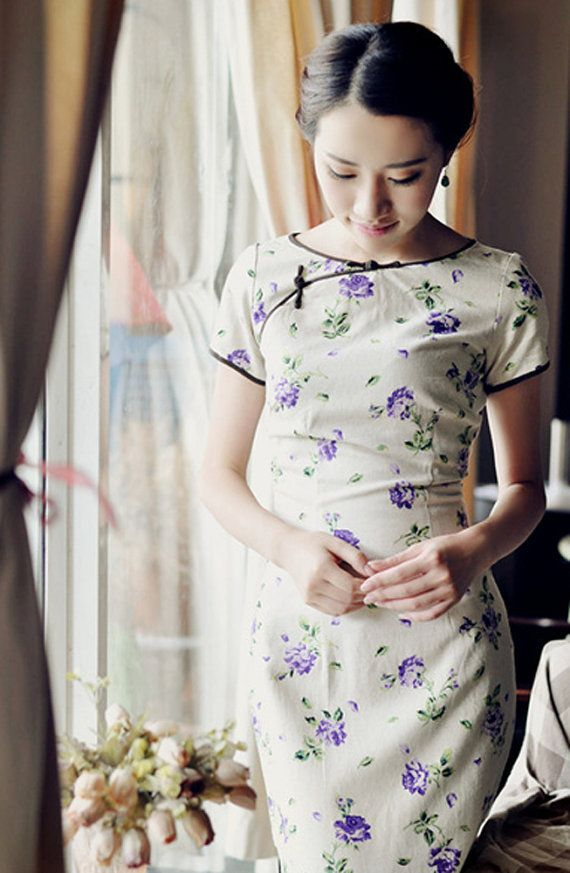 Linen Floral Chinese Dress Cheongsam by RockRollRefresh on Etsy, $68.00