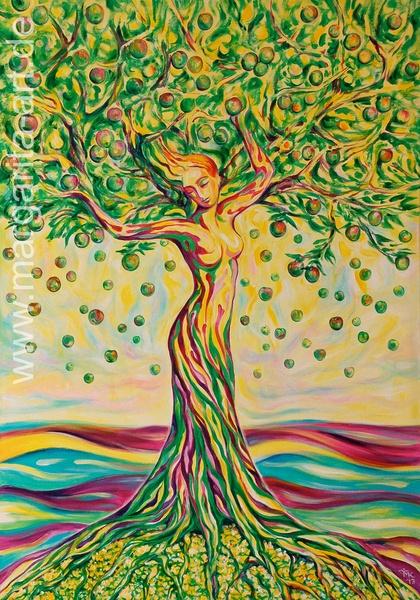 Original Acryl-Gemälde auf Leinwand.  - THE TREE OF LIFE / GREEN APPLE -    Ein Unikat. Seiten künstlerisch ummalt. Fertig zum Aufhängen. Monogramm...