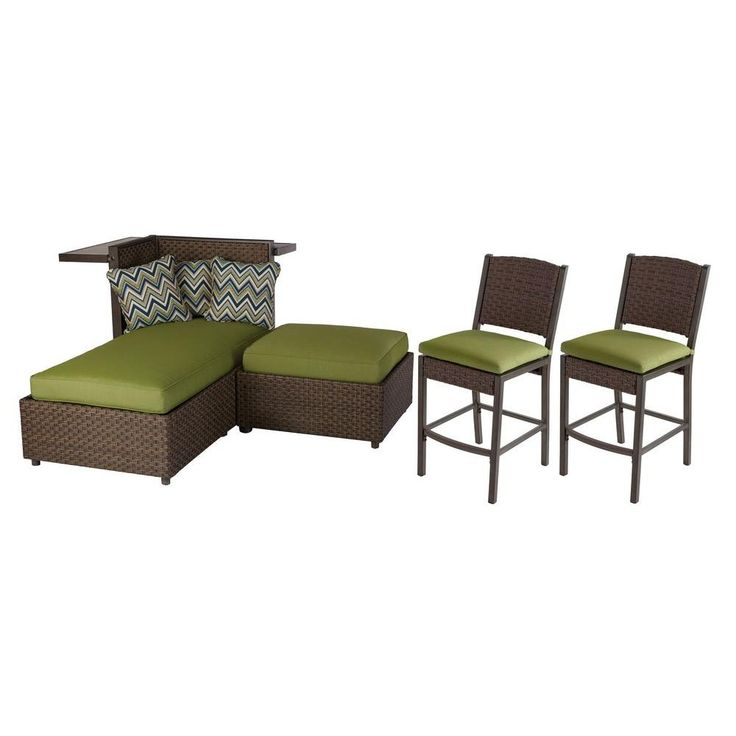Hampton Bay Carol Stream 4-Piece All-Weather Wicker Patio Lounge Seating and Bar Set With Sunbrella Cilantro Cushions