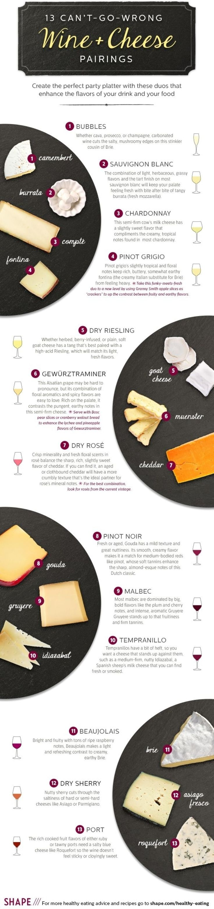 13. Wine and #Cheese - 34 #Food #Infographics to Make You a Better #Technical Cook ... → Food #Great