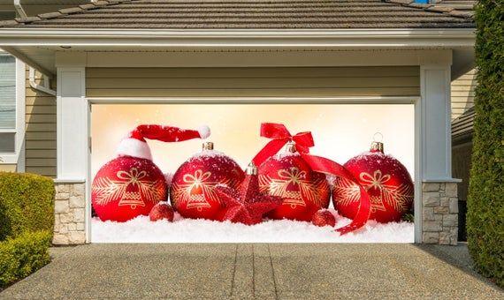 Christmas Garage Door Covers 3d Banners Outside Art Home Etsy In 2021 Garage Door Christmas Decorations Christmas Door Decorations Door Decorations