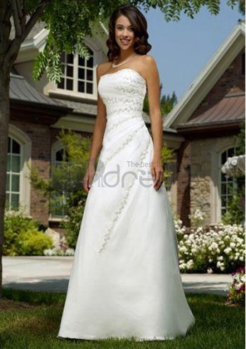Abiti da Sposa Senza Spalline-Principessa cappella treno raso organza abiti da sposa senza spalline