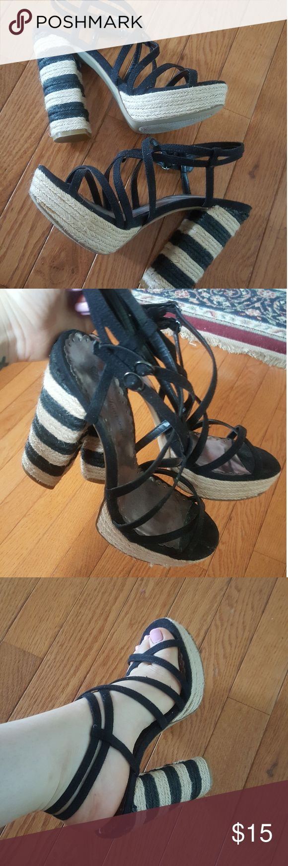 Striped strappy heels Condition: like new! Worn once. Great for summer with maxi dress, dresses, skirts, jeans, shorts... on the boardwalk!! Very cute and fun. 5.25 inches with 1.25in platform. Lulu Townsend Shoes Sandals