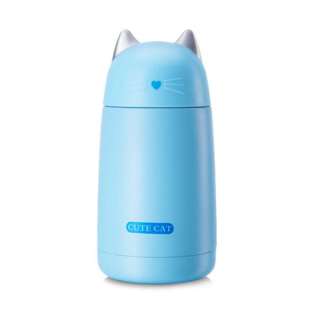 Cute Thermos Cup Cat Thermo Mug Drinkware Kids Water Bottle Stainless Steel Child Vacuum Flask Cup Tumbler Leak-proof Tumbler