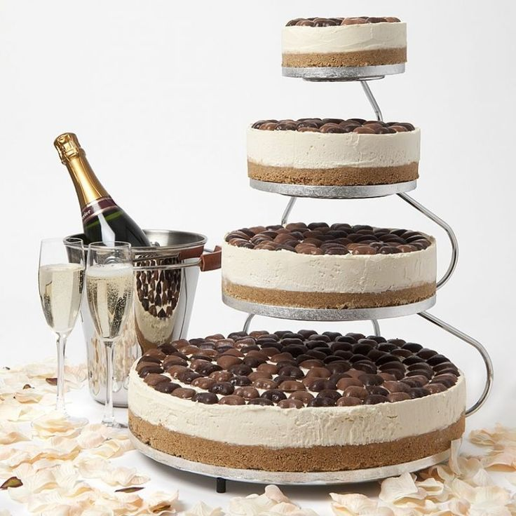 Cheesecake -like the tiered presentation without being stacked like it is imitating a wedding cake