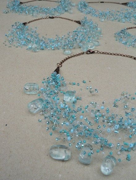 Turquoise Bridesmaid Necklace Set of 5, Bridesmaid Jewelry, Ocean Wedding Jewellery, Ready to Ship