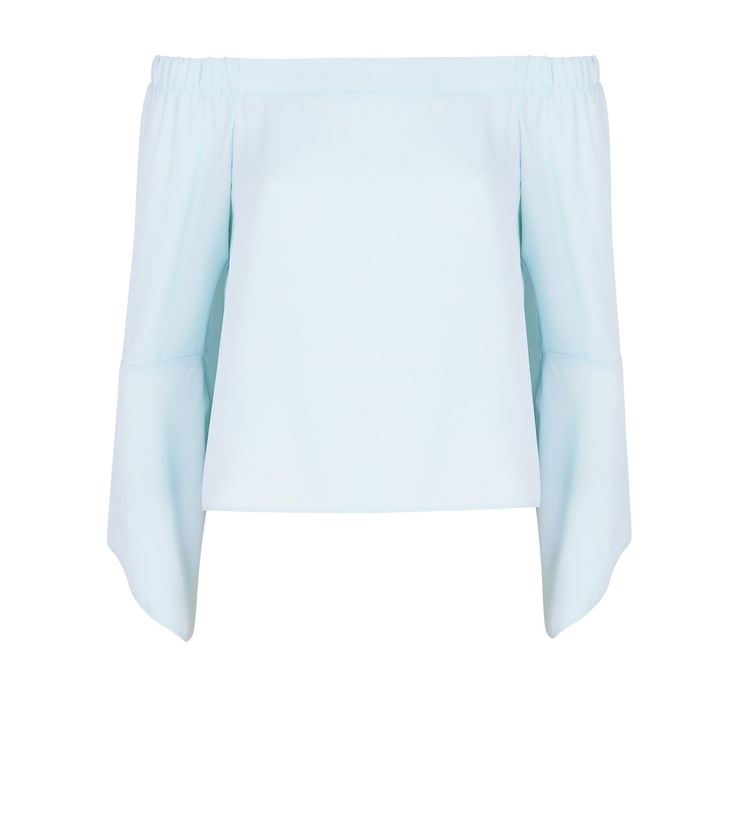 Petite Pale Blue Hanky Sleeve Bardot Top | New Look